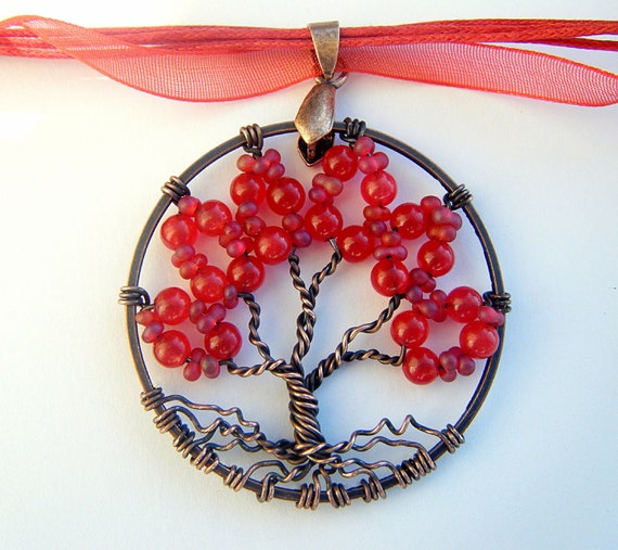 Reserved Red Hot Ruby Tree of Life Necklace