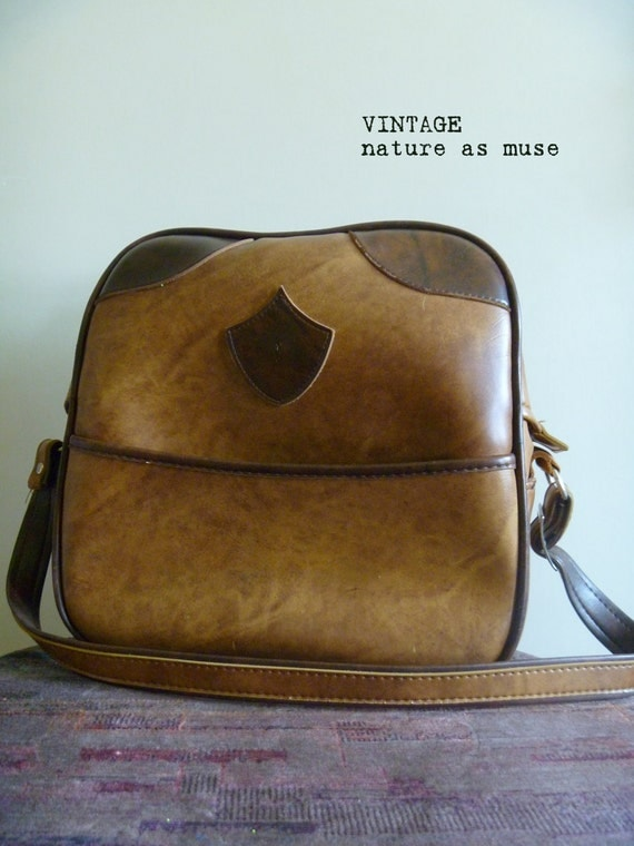 Vintage- Vinyl Brown Carry On by C & C