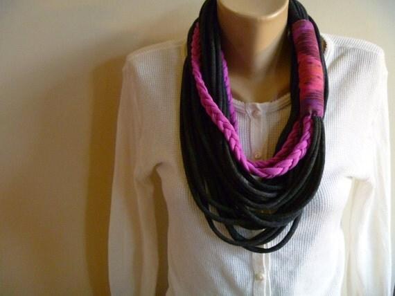 Scarf Necklace- Gray, Pink & Seminole Scarflace
