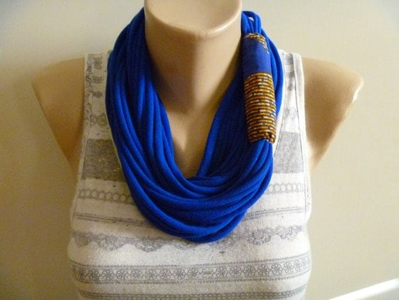 SALE- Scarf Necklace- Blue & African Wax Fabric Scarflace