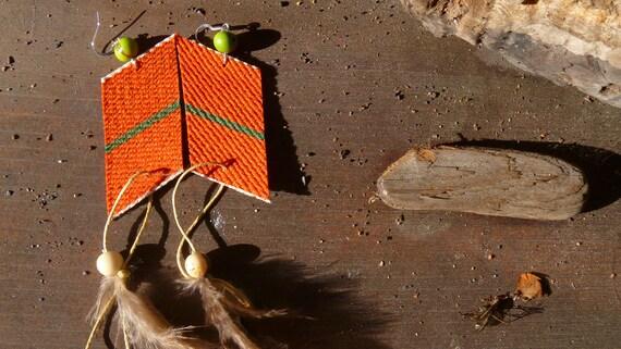 Mexican Blanket - Acai - Feather- Geometric - Orange Earrings