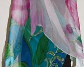 Pink Tulip on Turquoise 100% Handpainted Silk Shawl w/ Swarovski Crystal Rhinestones Made in USA