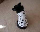 Fleece Paw Print Dog Coat