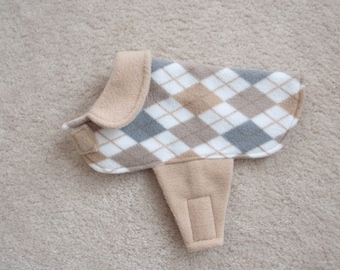 Argyle Fleece Dog Coat With Collar