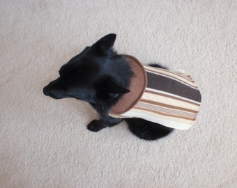 Brown Stripe Fleece Dog Coat