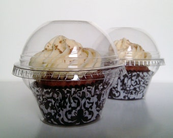 50 Crystal Clear Cupcake Favor Box / Container / Holder / Container - Wedding / Party / Shower