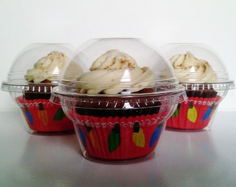 30 Crystal Clear Cupcake Favor Cups / Boxes / Holders / Containers