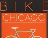 Customized Bike Poster - Bike Chicago Vintage Style Print 8.5x11