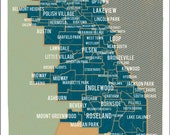 City of Chicago Map in Blue- Vintage Style Poster 11x17