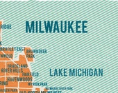 Milwaukee Map Poster in Orange- Vintage style print 11x17