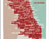 "Chicago Map Red- 16""x20"" Digital Print"
