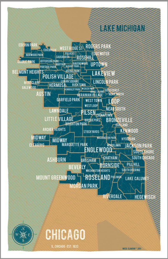 City Of Chicago Map In Blue Vintage Style Poster By
