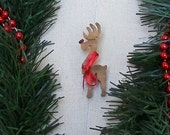 Old School Rudy 8 -Rudolph the Red Nosed Reindeer wooden pin, rustic Christmas