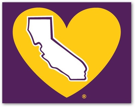 Lake Show Purple And Gold California Heart Decal