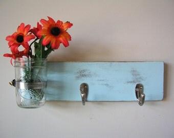 Country Cottage Key Hooks, Hanger with Mason Jar Vase