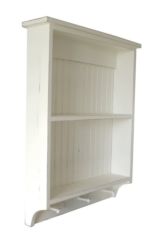 Open Wall Kitchen or Bathroom Farmhouse Cupboard with Shaker Pegs -  Distressed Finish