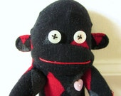 Sale! 35% off! Sock monkey plush doll - blackjack red, black, and gray diamonds