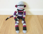 SALE - 25% off! Striped sock monkey plush doll - purple, gray, black, and maroon