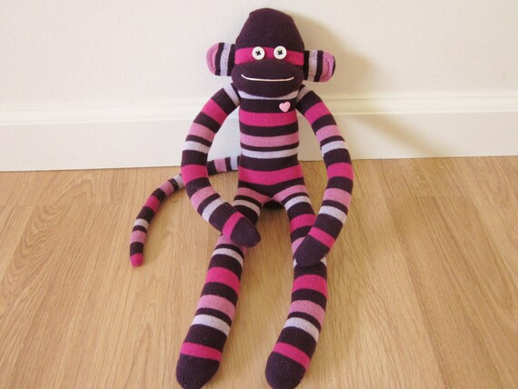 Purple sock monkey with magenta and pink stripes - sock doll plush
