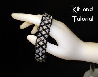 """Kit - """"Shadowed Diamonds"""" peyote bracelet in three colorways"""