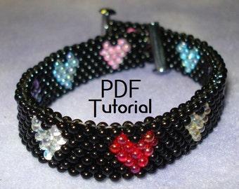 "PDF - ""StarLite Mini Hearts"" bracelet and earrings odd count peyote PDF tutorial"