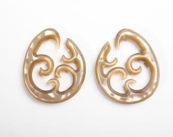 Carmel Wave Hoop Gauged Earrings 2ga (6mm)