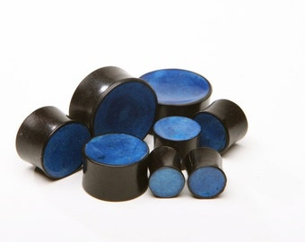 "Ebony Wood Plugs with Blue Inlay - 2g, 0g, 00g, 7/16"", 1/2"", 9/16"", 5/8"", 11/16"", 3/4"", 7/8, 1"""