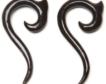 Spiral Drop Horn Earrings 4ga (5mm), 0ga (8mm)