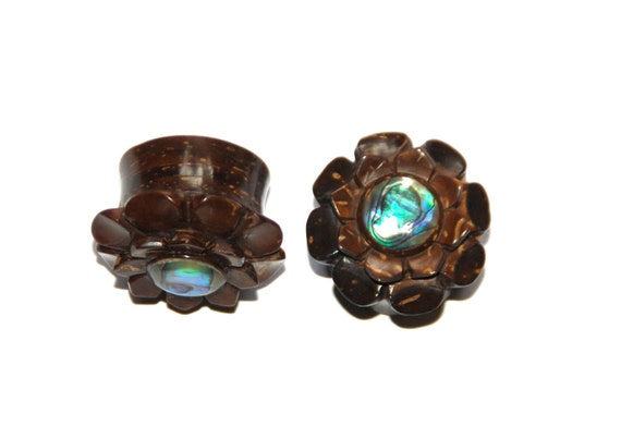 Wood Flower Plugs with Abalone Inlay 2ga (6mm), 00ga (9.5mm)
