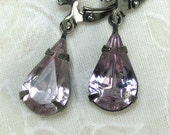 Lavender Earrings SALE Glass Teardrop Dangle Earrings with Rhinestone Earwire