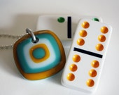 Teal, Yellow & White Unique Retro Fused Glass Pendant. Red Cells for Remission. Awareness Jewelry