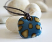 Reactive Stones Blue and Vanilla Fused Glass Pendant. Red Cells for Remission. Awareness Jewelry