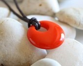 """1"""" Red/Orange Round Fused Glass Pendant. Red Cells for Remission. Awareness Jewelry"""