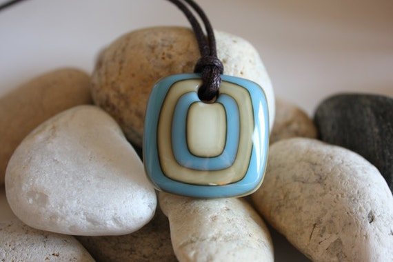 Blue and Vanilla Reactive Bullseye Fused Glass Pendant. Red Cells for Remission. Awareness Jewelry