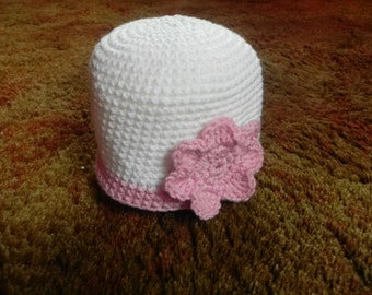White Hat with Pink Flower