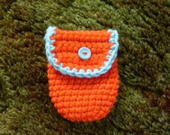 Orange and Baby Blue Pouch