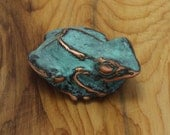 Tree Frog Sculpture - expressionistic sculpture of a pacific tree frog with blue green copper patina