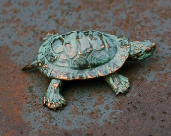 Western Painted Turtle Sculpture in silver pewter