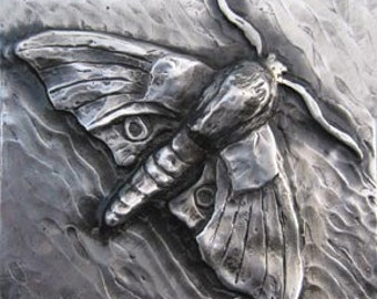 Moth Bas Relief Sculpture Plaque in fine silver pewter