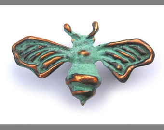 Bee Brooch with blue green copper patina