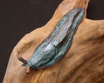 West Coast Copper Slug Sculpture with blue green verdigris patina