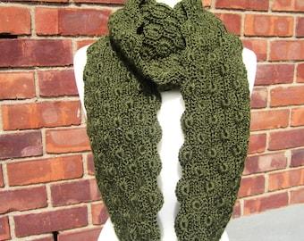 Deep Sage Crochet Cowl, Infinity Scarf, Snood