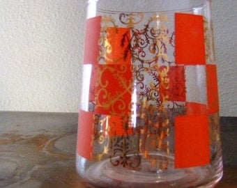 Vintage Glass Vase w/ red and gold print
