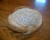 Vintage Ladies Hat -Ivory with Pearled Beads and Netting -Unique-