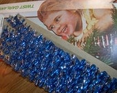 Vintage Christmas Blue and Silver Twist Garland in the Original Box