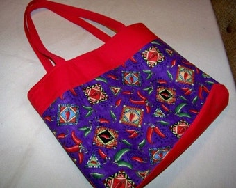 Handsewn Reversible Purse Handbag Tote - Red and Purple with Chilli Peppers