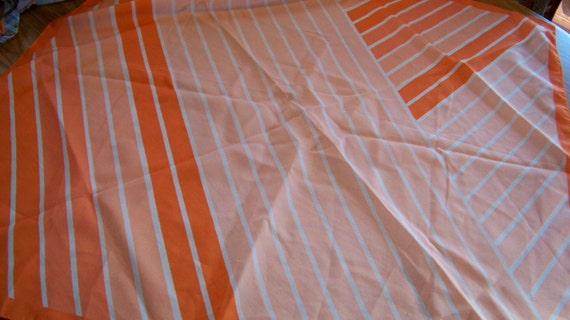 Vintage Scarf with Orange and Peach Striped Design -Signed Valentina Fiore