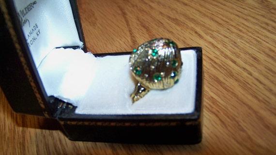 Vintage Mushroom Shaped Ring with Green Jeweled Rhinestones - Adjustable -