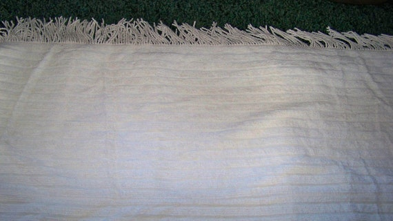 Vintage King Size Chenille Bedspread Blanket - White with Fringe Trim -Very Soft Fabric -