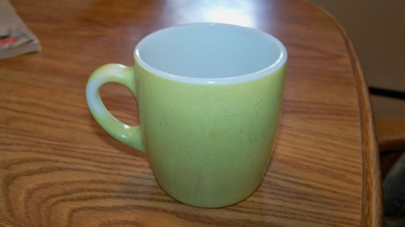 Vintage ShaBbY CoTtAge Green Glass Cocoa Coffee Mug